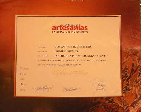 First Prize of the International Handicrafts Fair Buenos Aires 2006