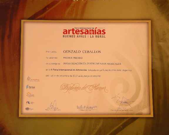 First Prize of the International Fair of Handicrafts Buenos Aires 2007