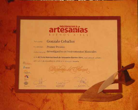 First Prize of the International Fair of Handicrafts Buenos Aires 2008