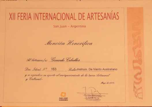 Honorable mention of the International Handicrafts Fair San Juan 2005