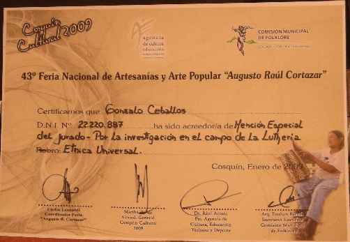 Special Mention for Research in the field of lutheria. Cosquin 2009.