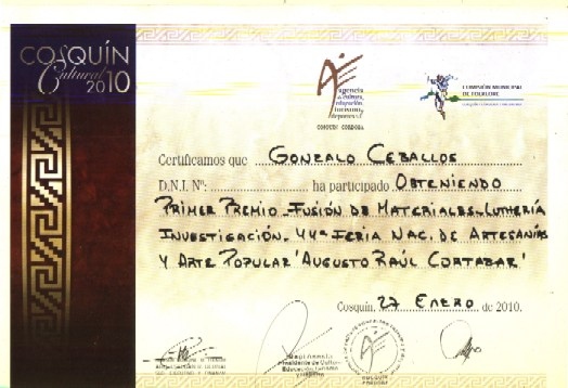 First Prize - Materials Merger - Lutheria, Research. COSQUIN 2010