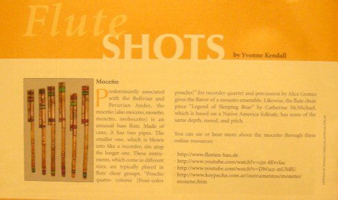Yvonne Kendall's article on MOXE�O in THE FLUTIST magazine 2009